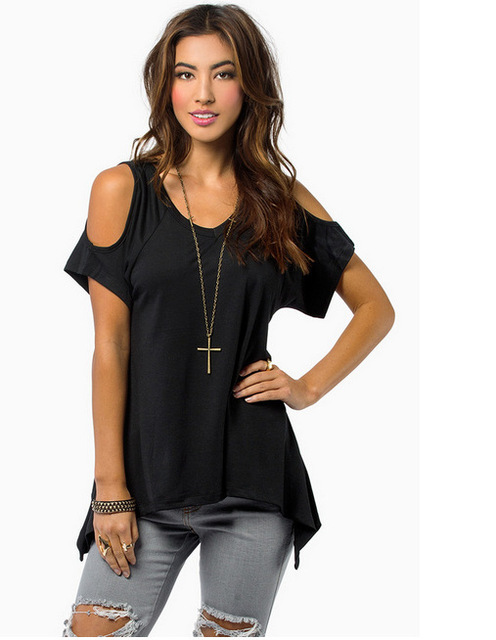 Summer V Pure Cotton Short Sleeved Strapless T-Shirt