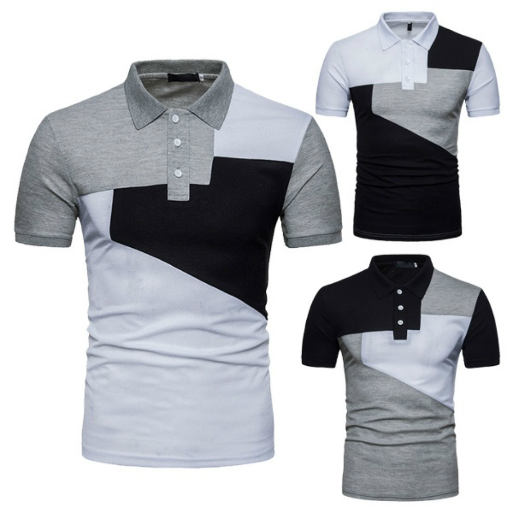 ZOGAA Summer New Cotton polo shirt men Casual mature POLO  street wear Stitching color Plus size S-3XL