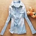 Весна новых Европейских и Американских ретро женские модели градиент омывается джинсовой рубашки с длинными рукавами джинсовые рубашки