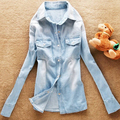 Spring new European and American retro female models gradient washed denim shirt long-sleeved denim shirt