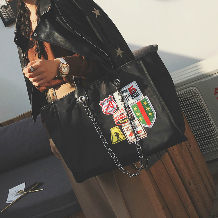 b332789849ac Super Big Casual Tote Bag Women Shopper Travel Style Canvas Laptop Bag  Chain Strap Applique Designer Handbags Large Shoulder Bag