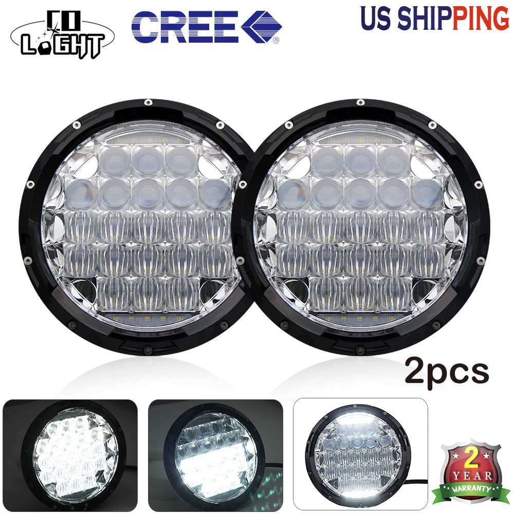 CO LIGHT 7 Inch Round LED Headlights 70W 35W 5D Combo DRL For Jeep Wrangler Hummer Peugeot Toyota VW Passat Car-styling 12V 24V 7 inch round led headlights drl
