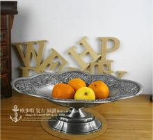 Ретро цветочные овальный сплав металла фруктовый лоток металлическая тарелка с фруктами поднос декоративные лотки для украшения дома SG094