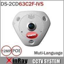 HIK Fisheye Сетевые IP камера DS-2CD63C2F-IVS 12MP 360 Градусов CCTV Камеры со встроенным Микрофоном Динамик Двойной Аудио