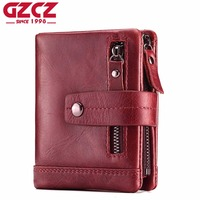 GZCZ Fashion Genuine Leather Women Wallet Female Lady Mini Zipper Coin Purse And Small Walet Portomonee