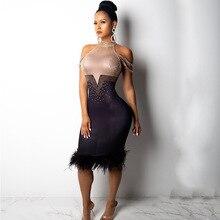 glitter Diamond Sexy Strapless Dress vestido women sexy ukraine party bodycon clothes harajuku Feathers off shoulder dresses new
