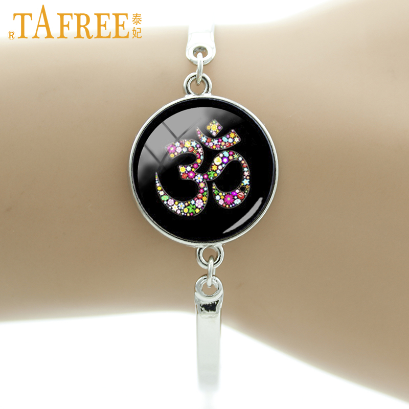 TAFREE Brand Colorful Om Ohm Aum Namaste Yoga Symbol Bracelet vintage Hindu Zen Jewelry Glass Art Mandala Women jewellery T480