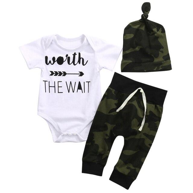 9649bb83b 2018 Army Green Newborn Baby Girl Boy Clothes Romper T Shirt Long ...