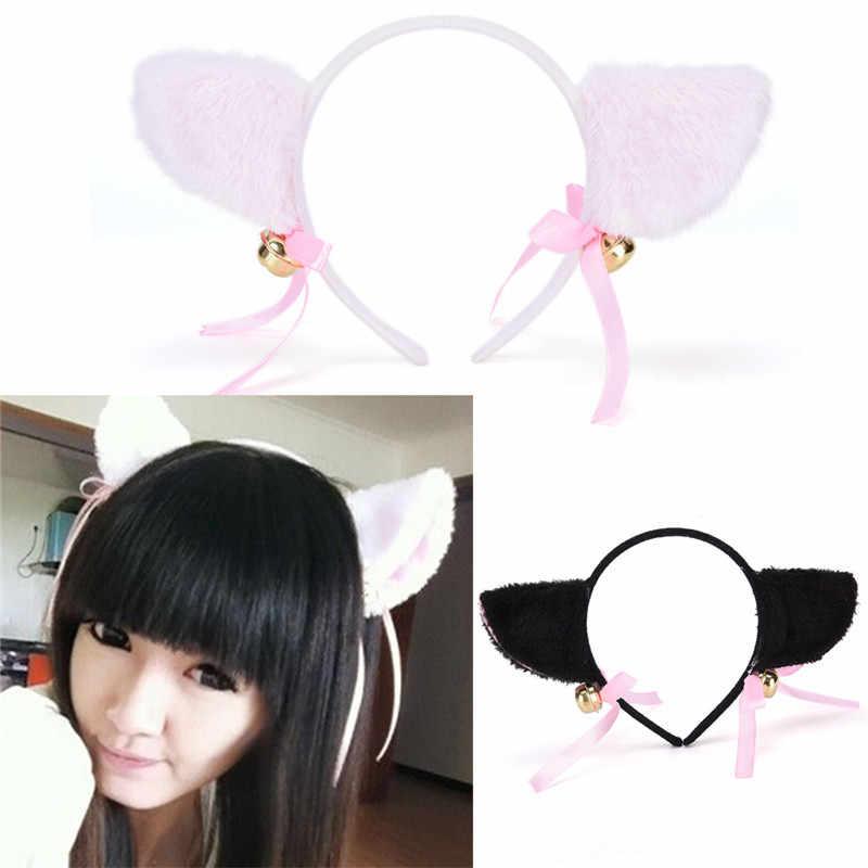 1 pc Wanita Mode Charming Bell Hairband Hairwear Indah fashion Fox Kucing Telinga Bulu Rambut Klip Ukuran: Approx.21.5cm
