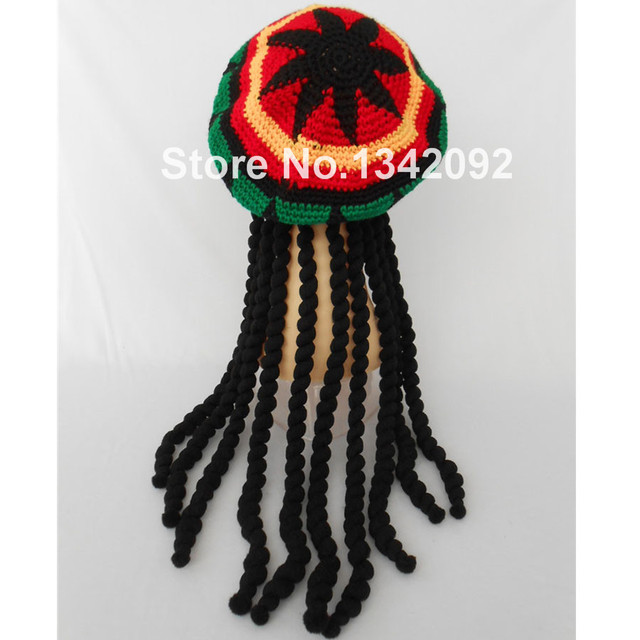 1e1beaf0b38 1pcs Adult Mens Jamaican Rasta Hat Dreadlocks Wig Bob Marley Caribbean  Fancy Dress Cap