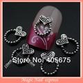 MNS252   antique silver metal nail art dangles heart studs accessories for art nails decoration10pcs