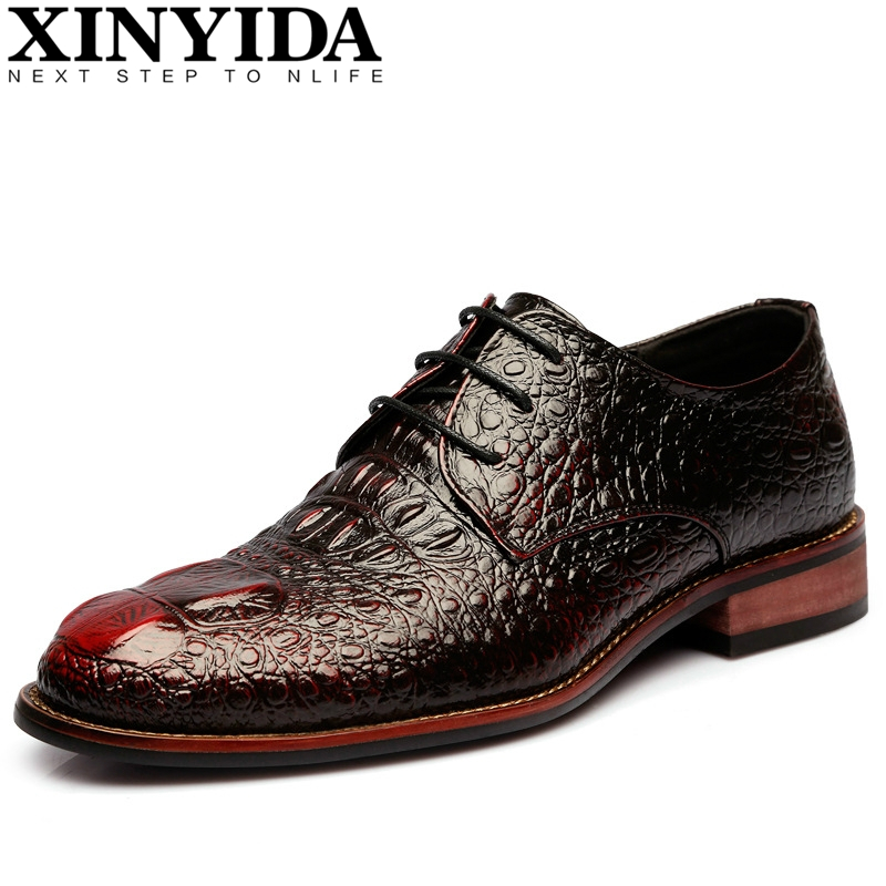 British Style Alligator Leather Dress Shoes Men Fashion Business Crocodile Shoes Men's Lace-up Breathable Casual Oxford Shoes men s dress shoes crocodile pattern british work shoes men s business shoes elegant fashion shoes with suit