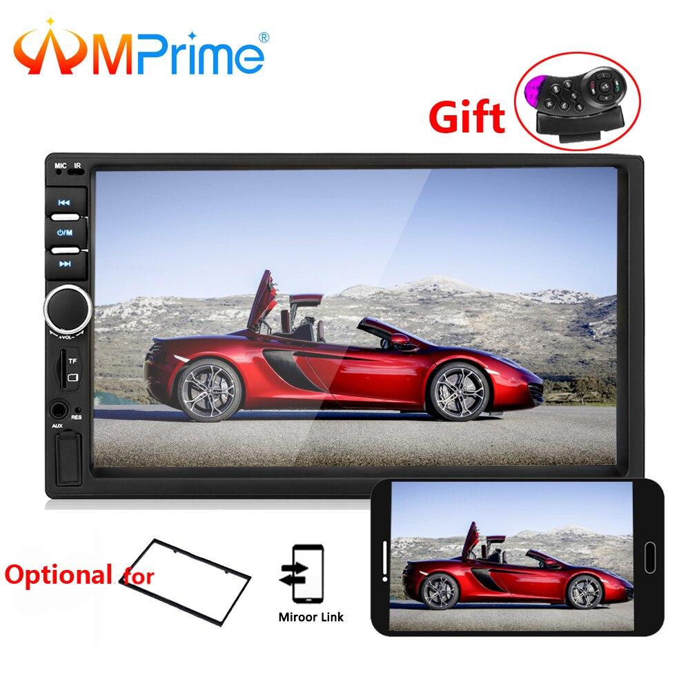 AMPrime Autoradio 2 din Allgemeine Auto Modelle 7 ''LCD Touch Bluetooth 2din Auto-Radio-Player Auto Audio Aux FM mit Rückansicht Kamera