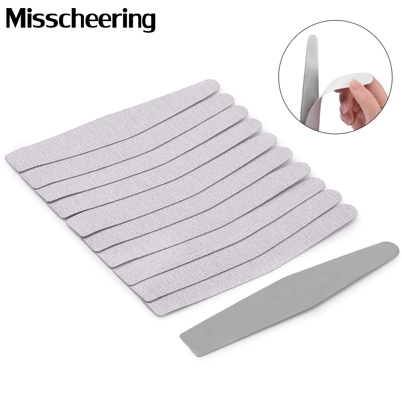 Double Side Nail File Set Calluses Remover Stainless Steel Handle With Replacement 10Pcs Self-adhesive Sandpaper Manicure Tools