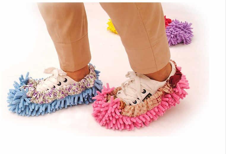 10 piezas de piso de barrido multifuncional descubierto perezoso zapatos de arrastre limpio zapatillas traje limpio mopa tapas cubiertas de zapatos descubiertos