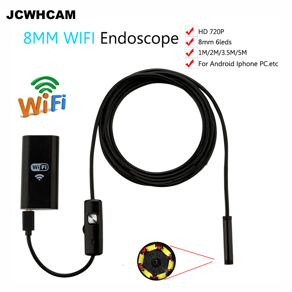 JCWHCAM 8mm Len 1M/2M/3M/5M Cable Waterproof Camera For iPhone and Android Endoscope WIFI Endoscope Inspection Camera HD 720p leshp 8mm lens 2mp hd wifi endoscope camera with 1m 2m 3m 5m soft hard cable waterproof ip67 for ios iphone android tablet pc