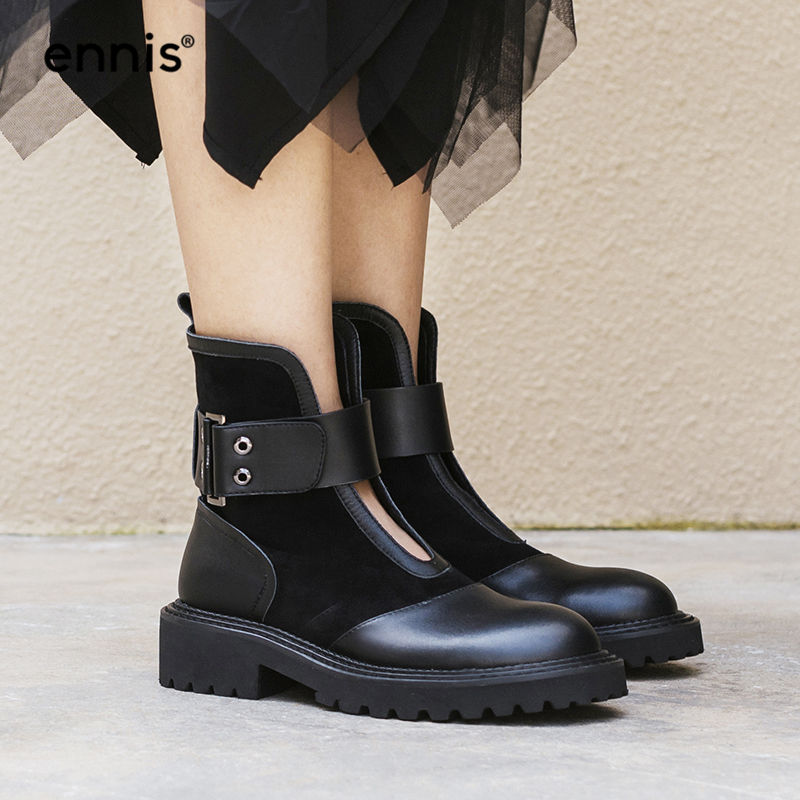 ENNIS 2019 Designer Boots Black Women Platform Boots Genuine Leather Autumn Boots Buckle Cow Suede Winter Female Shoes NEW A8187-in Ankle Boots from Shoes    1