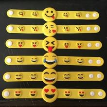 RE 100pcs/lot free shipping emoji wristband bracelets & bangles rubber wrist band smile cry promotion silicone S20