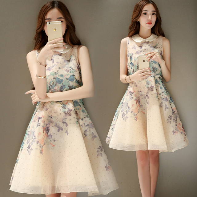 Hot Sale Korean Fashion Lovely Floral Print Organza A Line Yellow Dress Elegant Summer Style