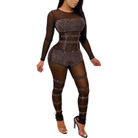 Sparkly Style Rompers Women Jumpsuit Mesh Rhinestone Long Sleeve Bodysuit Full Length Party Elegant Back Zip Jumpsuit Playsuit
