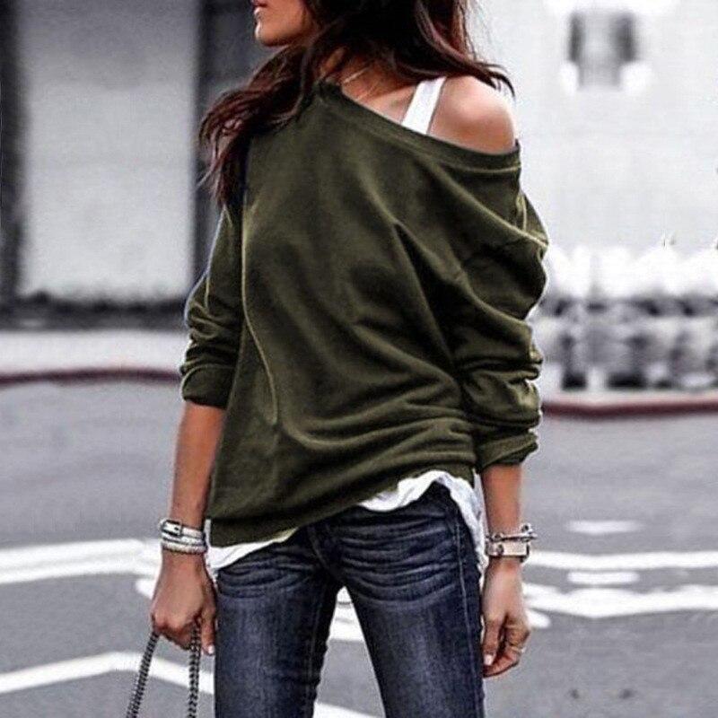 19 New Autumn Long Sleeve Women Casual Sweatshirts Off Shoulder Black Gray Tops Sweatshirts Streetwear Female Loose Sweatshirt 17