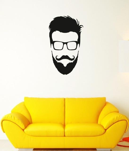 Wall decal hipster kacamata jenggot kepala mode mural vinyl stiker