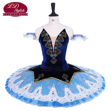 New Arrival Blue Professional Ballet Tutu Costumes Pancake Performance Apperal Women Dancewear Girls Dress