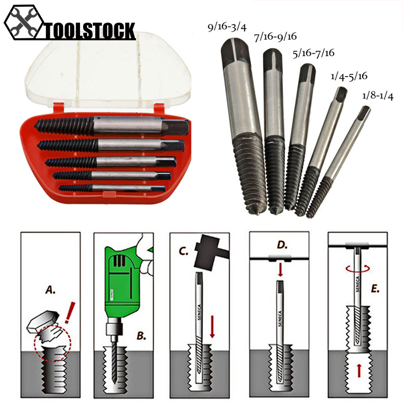 Free Shipping 5pcs/lot Screw Extractors Damaged Broken Screws Removal Tool Used In Removing The Damaged Bolts Drill Bits