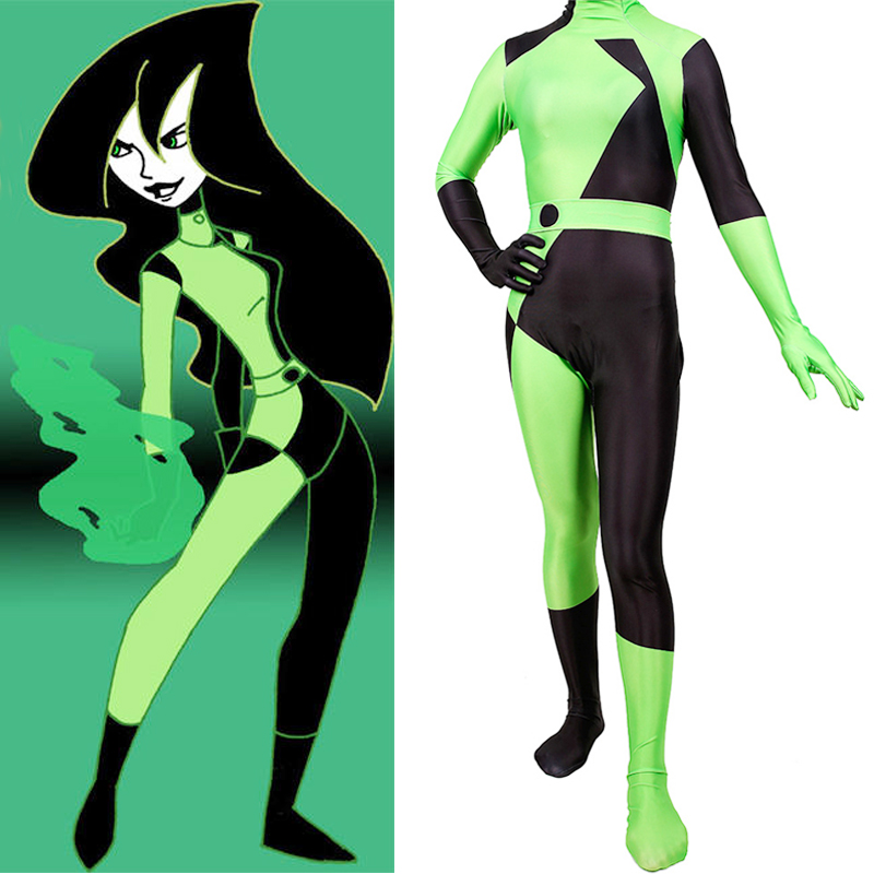 Cartoon Kim Possible Super Villain Shego Cosplay Costome Spandex Zentai Body Suit Women Girls Halloween Jumpsuit