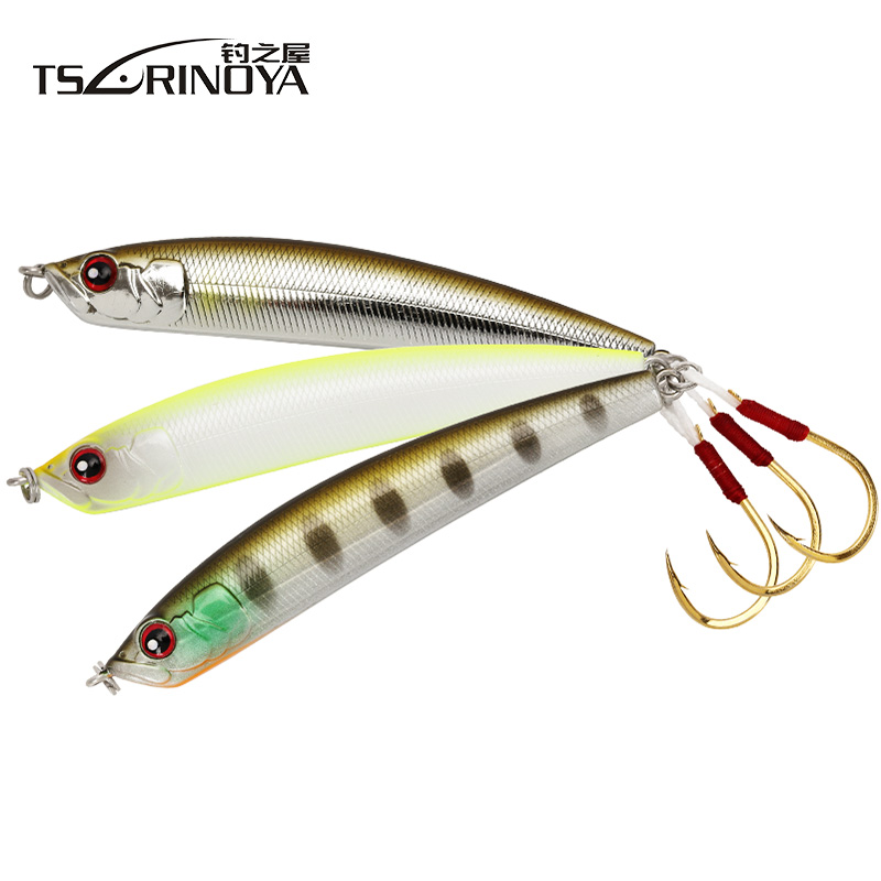 NEW TSURINOYA DW57 80mm/14.3g Single Hook Sinking Pencil Fishing Lure Artificial Bait Distance throwing Bass bait Tremor 50pcs new wifreo soft lure loader locker connector fishing worm hook bait accessories for bass fishing wholesale