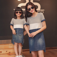 Mother daughter dresses matching mother daughter clothes mom and daughter denim dress family look clothing girl dress(China)