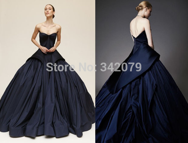 M12 Rihanna dress a midnight blue duchesse and taffeta strapless ...