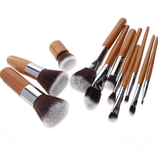 11 pcs Professional Make Up Tools Pincel Maquiagem Wood Handle Makeup Cosmetic Eyeshadow Foundation Concealer Brush Set Kit