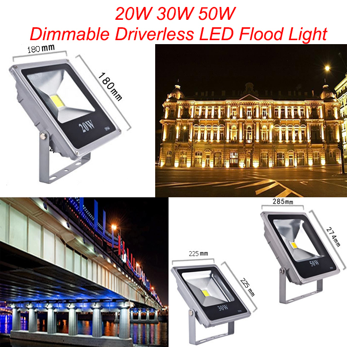 20w Led Dimmable: 1pcs 20w 30w 50w IP65 Dimmable Driverless LED Flood Light