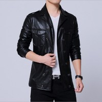 Plus Size Blazer Collar Double Breasted Faux Leather Jacket for Men Casual Black Pu Leather Jackets Motorcycle Biker Coat Male