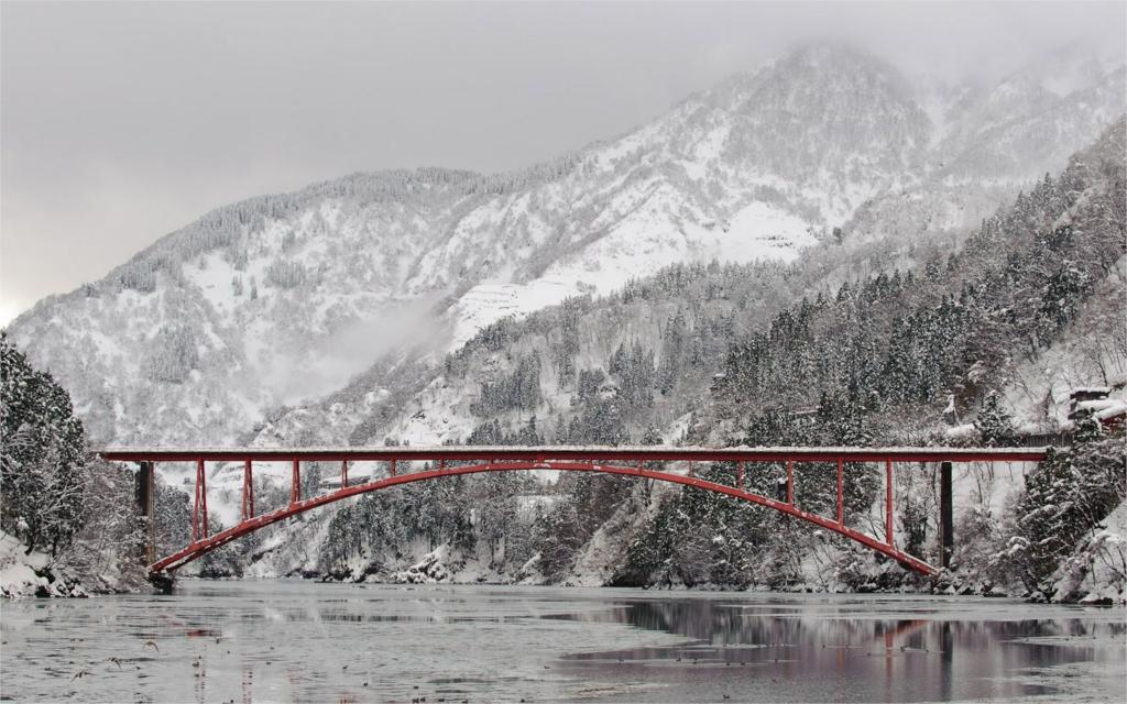 Building bridges rivers ice winter mountains snow 4 Sizes Wall Decor Canvas  Poster Print