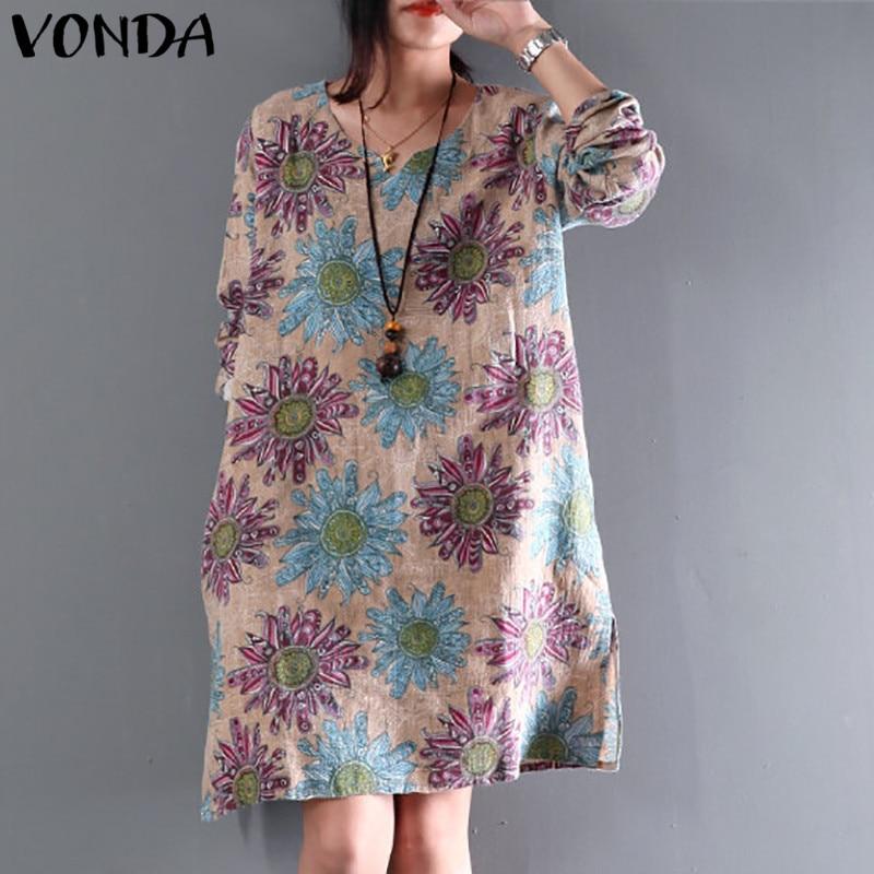 2508dd2f2606e Vestidos 2019 Summer Women Vintage Floral Print Cotton Royon Dresses ...
