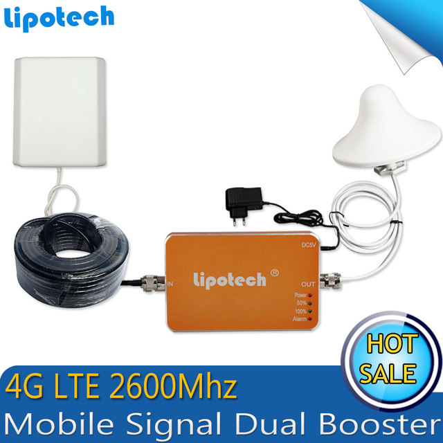 1 Set 4G FDD LTE 2600MHz 65dB Cell Phone Signal Repeater Booster Mobile Signal Amplifier+Panel outdoor Antenna 10m cable