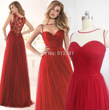 Dark Red Tulle Sheer Prom Dresses A Line Sweetheart Pleat Beads Flower Actual Images Gown yk1A139