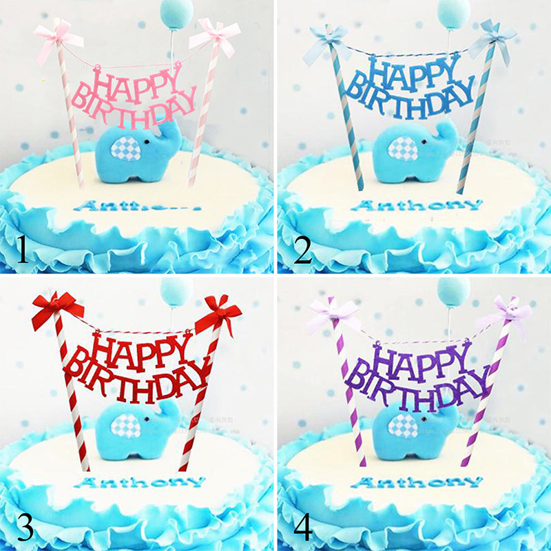 1PCs Lot Bowknot Happy Birthday Cake Topper For Party Decoration Cake Flag For Baby Shower Cake Decoration Tools Supplies in Cake Decorating Supplies from Home Garden