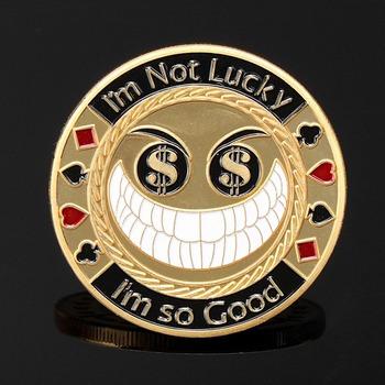 Metalowe karty do pokera straż Protector nie jestem szczęściem jestem tak dobry pozłacane z okrągłym plastikowym pudełku metalowe rękodzieło żetony do pokera poker tanie i dobre opinie Poker Card Guard iron