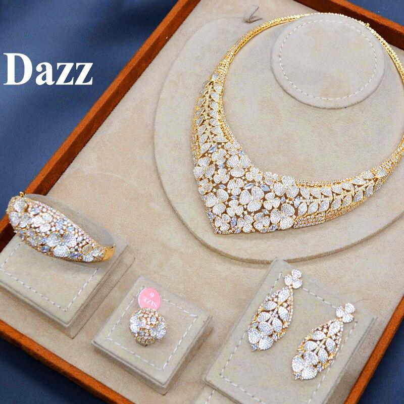 Dazz Золото Цвет ювелирные изделия из Нигерии комплект роскошное ожерелье серьги браслет кольцо CZ Циркон невесты для женщин Свадебные обруче