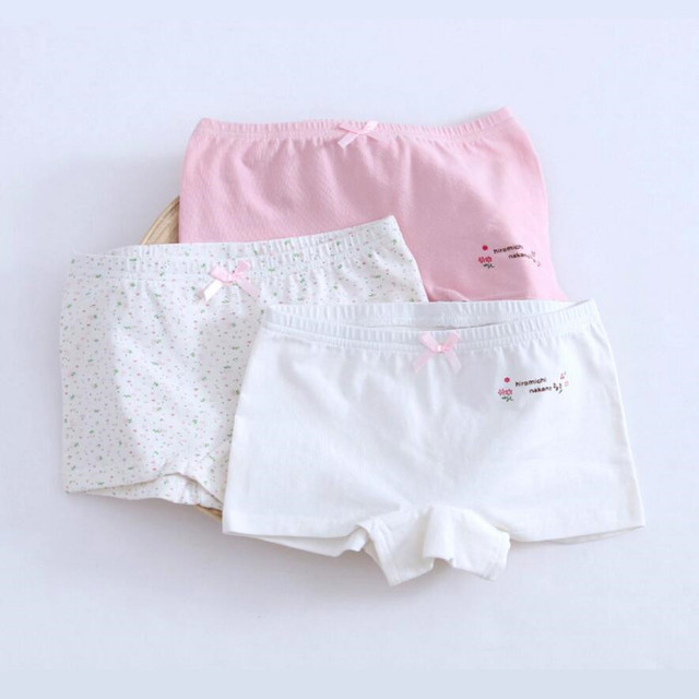 34d634b52523 3 pcs set children underwear kids panties girls briefs pink white cotton  fabric girls panties 2-12Years