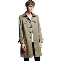 2018 Для мужчин хлопок Тренч классический Однобортный Тренч Masculino мужской Костюмы длинная куртка пальто британский стиль пальто