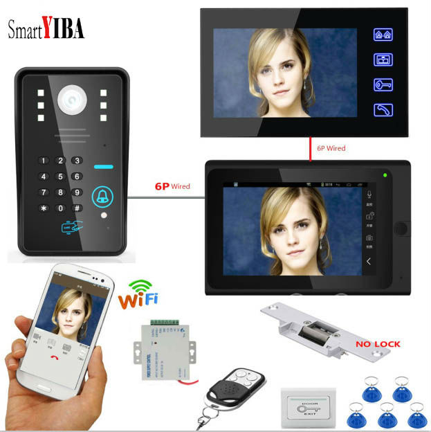 SmartYIBA 1000TVL ID Cards Password Unlock No Lock Strike E-lock Video Door Bell WIFI Video Door Phone+12V Power Supply Control