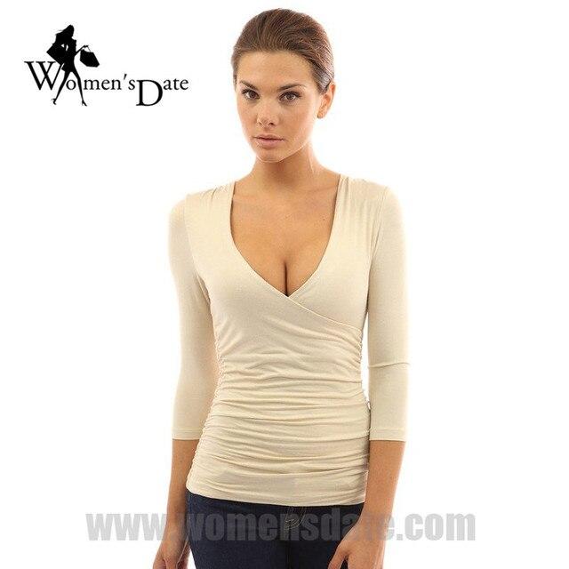 WomensDate 2017 Venta de Hot Spring Mujeres Sexy Cuello En V Profundo Camiseta de Manga larga Delgado Top Tee Camisas Ocasionales Femeninos camiseta