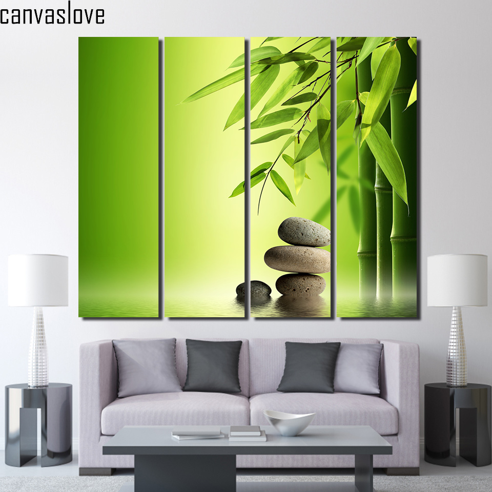 4 piece chinese wall art green bamboo painting wall for 4 home decor