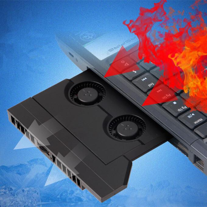 Prix pour DIY Ordinateur Portable CD lecteur optique modifié de refroidissement Refroidisseur SATA Interface calme Réglable vitesse ventilation radiateur turbo 2 fans