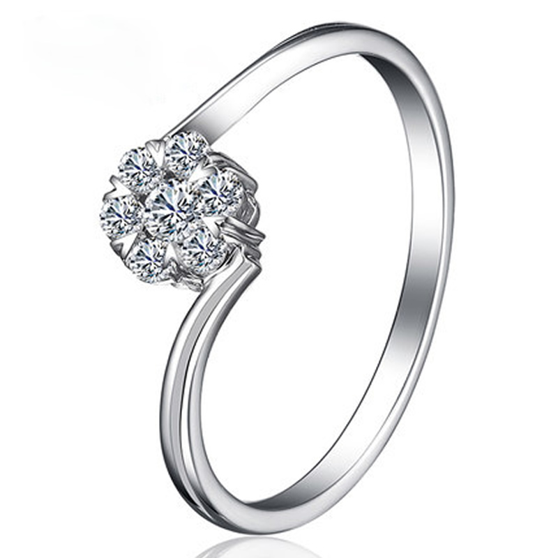 ANI 18K White Gold (AU750) Wedding Ring Natural Certified I-J/SI Round Cut Diamond Simple Twisted Design Lovers Promise Rings ani 18k white gold au750 wedding ring 0 50 ct certified i si natural solitaire round cut diamond jewelry twisted bridal rings