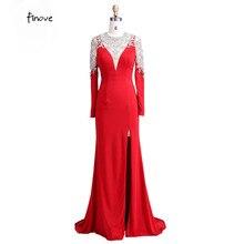 Lungo Rosso Abiti Da Sera 2018 Con Manica Lunga Guaina Vedere Attraverso  Torna Perline Di Cristallo Elegante Prom Dresses Vestid. 1f6272ccdb7